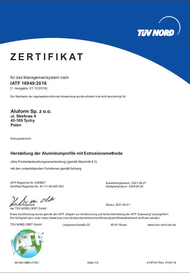 Aluform Sp. z o.o. – Certificate IATF 16949:2016