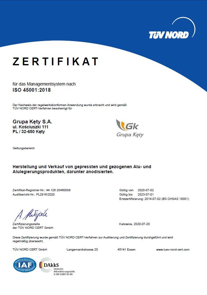 Grupa KETY S.A. – Certificate ISO 45001